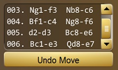 Game Moves Listing section